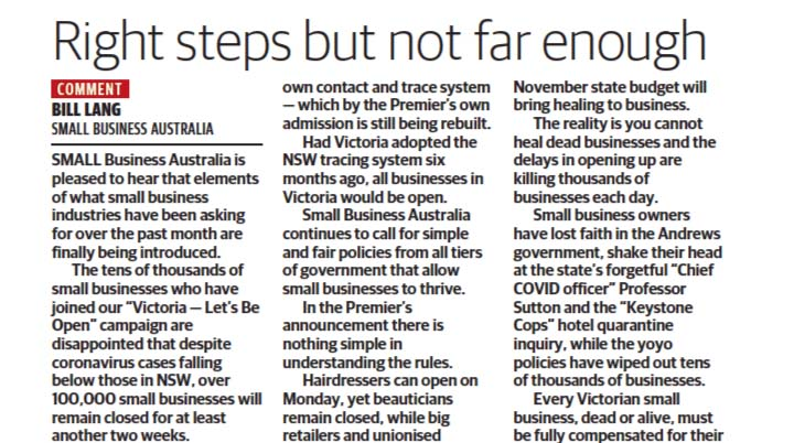 Bill Lang's article in the Herald Sun