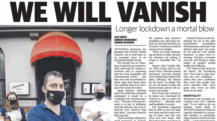 Bill Lang's comments in the Herald Sun