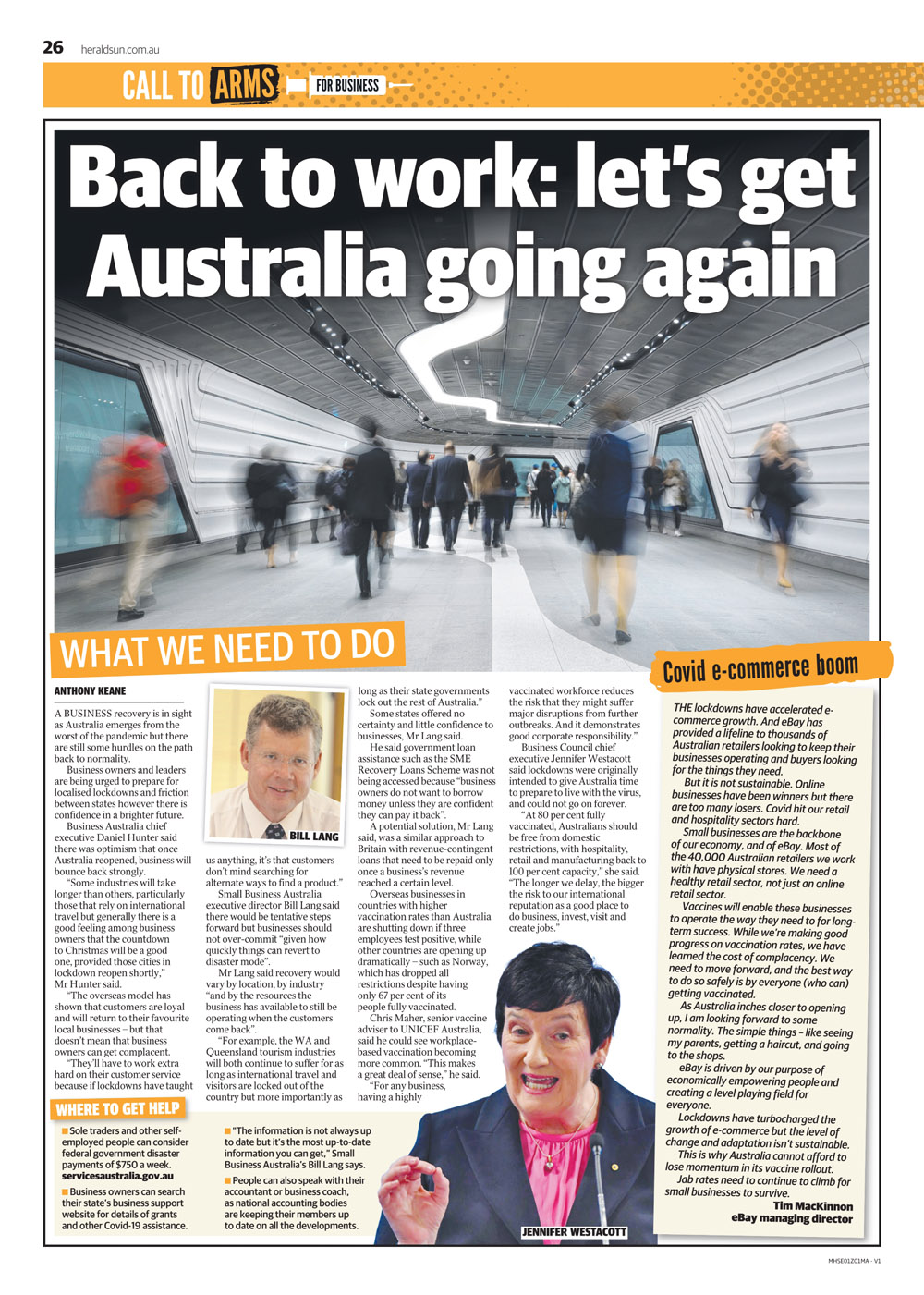 Bill Lang in the Herald Sun - Call to Arms - article