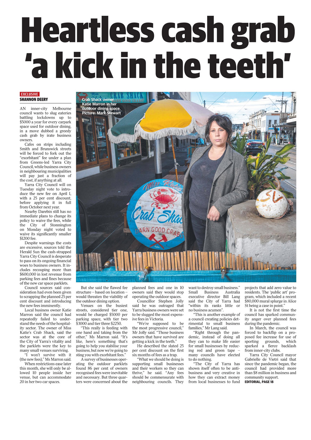Bill Lang in the Herald Sun - page 9